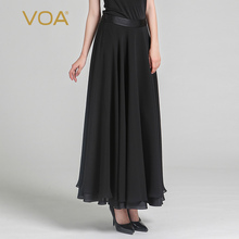 VOA 2017 Summer Fashion Silk Brief Solid Women Maxi Skirt Chinese Style Black Casual Plus Size Basic Long Skirt CLA00302