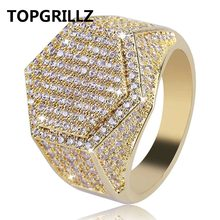 TOPGRILLZ Hip Hop แฟชั่นแหวนทองแดง Gold Silver สี Iced Out Bling Micro Pave Cubic Zircon แหวน(China)