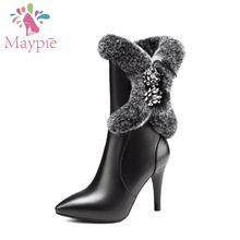 Здесь можно купить   MAYPIE  Black Mid-calf Boots Women Winter Shoes High Heels Pointed Toe Made of Cow Leather with Sexy fur and Short Plush Lining  Women