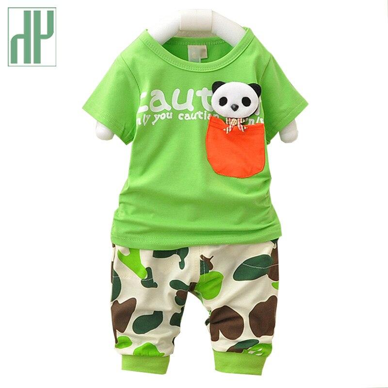 Bébé garçon vêtements panda de bande dessinée casual enfants sport costumes costume bébé fille vêtements d'été outfit nouveau-né vêtements deux pièces ensemble