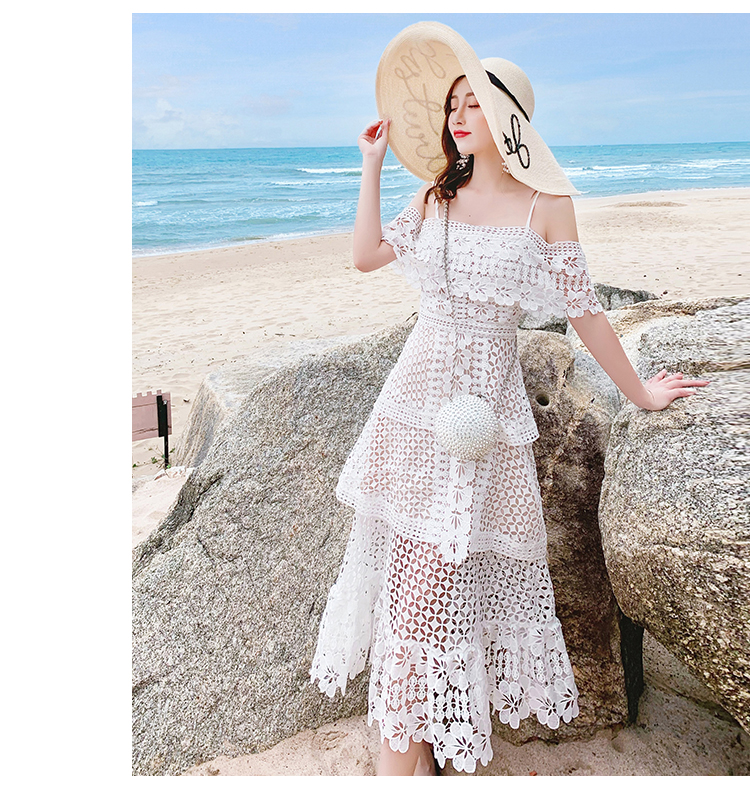 19 New Summer Women Cascading Ruffle Lace Cake Beach Dress Female Casual Sweet Embroidery Hollow Out Chic Party Midi Dresses 4