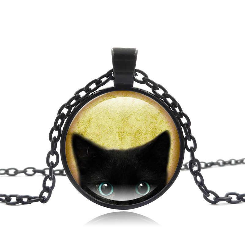 高品質のファッションネックレスガラスカボションシルバーブロンズチェーンネックレス黒猫絵ヴィンテージのペンダントネックレス