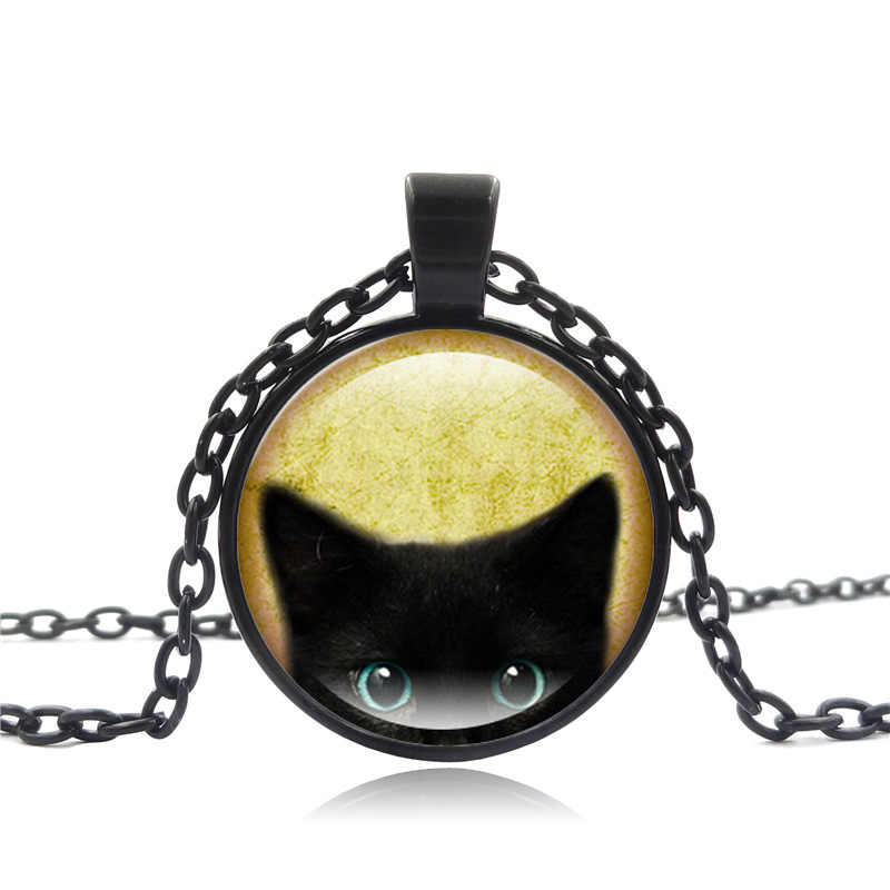 Chất Lượng cao Thời Trang Vòng Cổ Glass Cabochon Bạc Bronze Chuỗi Vòng Cổ Màu Đen Mèo Hình Ảnh Cổ Điển Mặt Dây Chuyền Vòng Cổ Cho Phụ Nữ