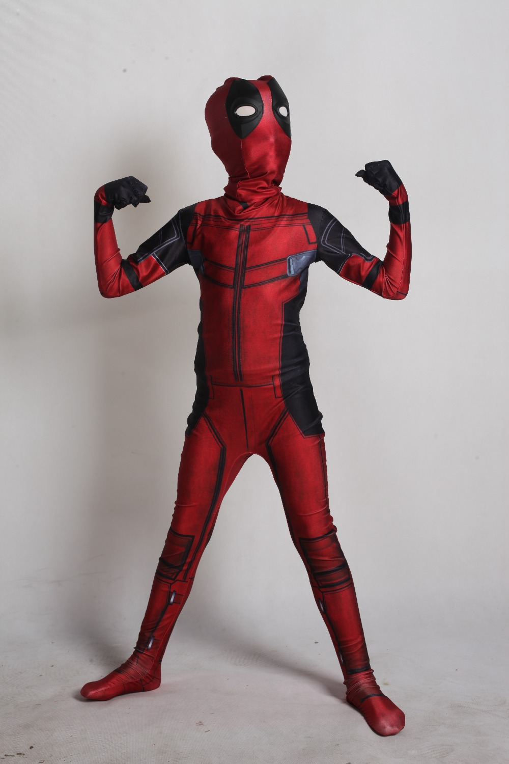 Halloween Funny kids Clothing 2018 Deadpool Wade Wilson Cosplay Costume Bodysuit with Unisex 3D Printed Headwear Mask Holster