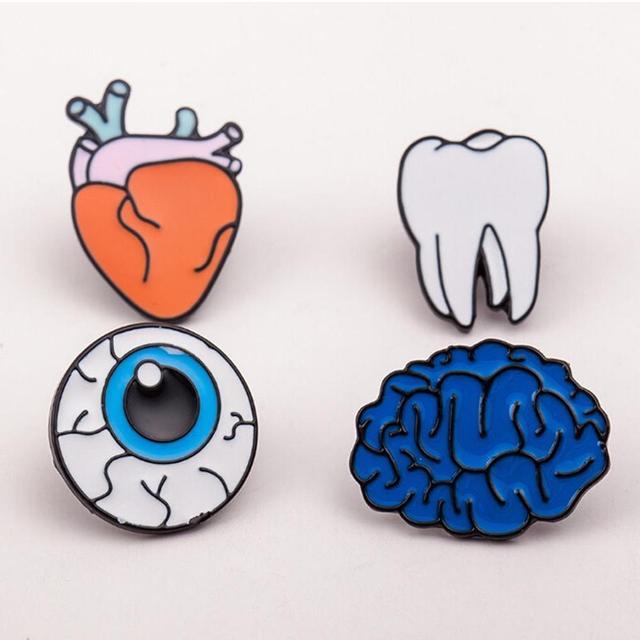 1 PZ Nuovo Organi Del Corpo Umano Piercing Spilla Pin del Risvolto Del Collare i