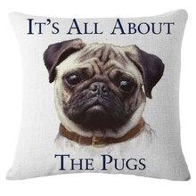 Negro Pug Cachorros Nórdicos Animales Patrón Impreso de Algodón de Lino Throw Pillow Cojín Cubierta del Sofá Decorativo Vintage Home Decor b69