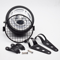 6.5 Retro Motorcycle Headlight Grill Side Mount Cover W/ Bracket Cafe Racer New