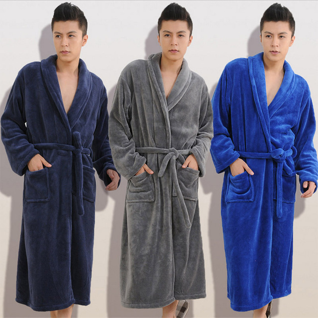 2016 otoño invierno de franela gruesa hombres y mujeres batas de baño señores homewear ropa de noche para hombre Men salones para hombres pijamas hombres pijamas