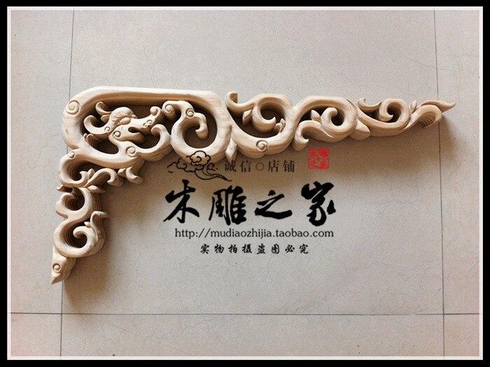 Dongyang sculpture sur bois dragon sculpté bois garniture angle pistolet décalque feuille allée toit plafond bois linteau faisceau