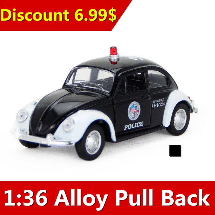 2016 alloy car models selling retro Beetle model sound and light back of the toy car, free shipping