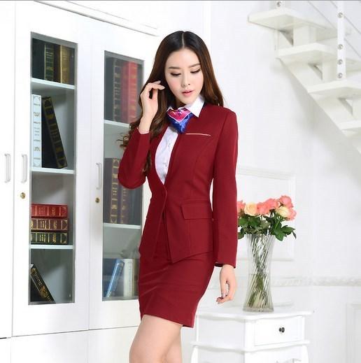 Mujeres de Talla grande Ropa de Trabajo Traje de Falda de Uniforme de Oficina Diseños Para Mujer Conjunto Formal Trajes Con Faldas Slim Fit Blazer Negro Rojo Azul