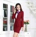 Plus Size Mulheres Desgaste do Trabalho Terno de Saia Uniforme Escritório Projeta Mulheres Conjunto Formal Ternos Com Saias Slim Fit Blazer Preto Vermelho Azul
