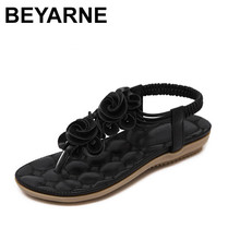 BEYARNE New 2018 Summer Shoes Women Sandals Flat Heel Non slip Beach Flip Flops Womens Sandals Brand Flowers Shoes