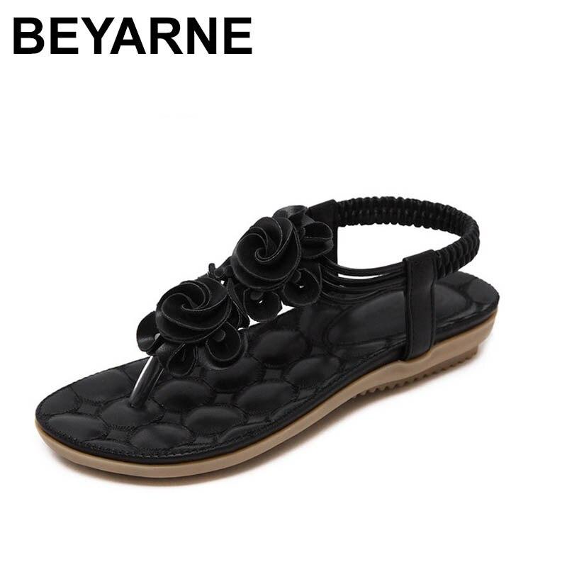 BEYARNE New 2018 Summer Shoes Women Sandals Flat Heel Non-slip Beach Flip Flops Women's Sandals Brand Flowers Shoes