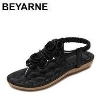 BEYARNE New 2018 여름 신발 여성 샌들 플랫 힐 비 슬립 비치 플립 플롭 여성 샌들 브랜드 꽃 신발
