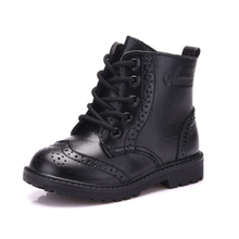 2018 Autumn winter Toddler Genuine Leather Martin Boot Baby Girl Kid Boy Lace-Up Children Fashion Black Boots size21-30