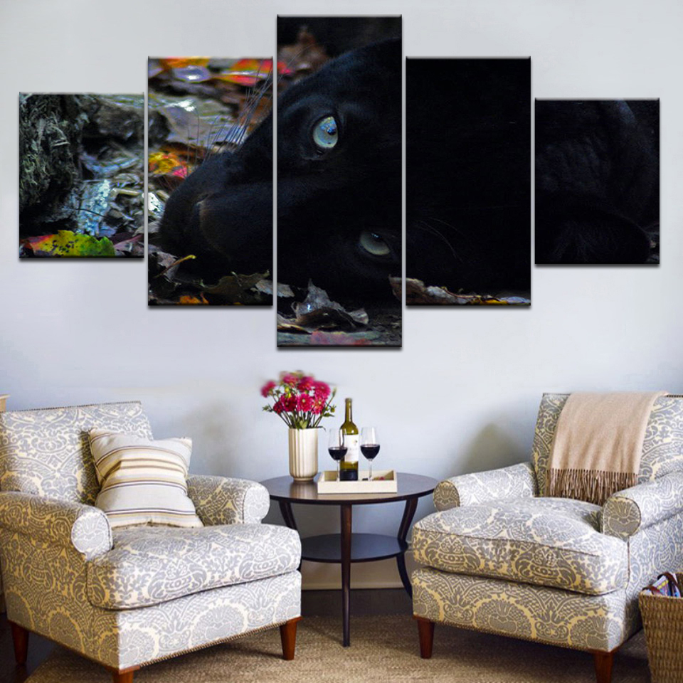 Canvas Painting Wall Art Modular Poster Frame 5 Panel Black Leopard Animal HD Printed Modern Pictures Home Decor Living Room