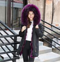 New Fashion Women Luxurious Large Raccoon Fur Collar Hooded Coat Warm Raccoon Fur Liner Parkas Long