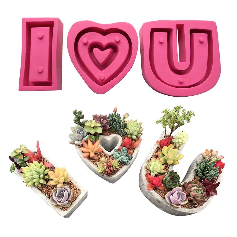 3 pièces I Love You série succulente plante Pot moule bricolage à la main ciment créatif dessin animé en forme de coeur fleur Pot ensemble Silicone moules