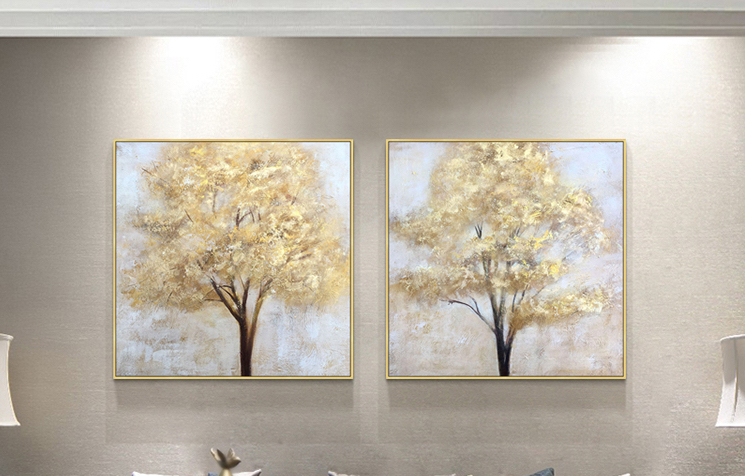 Modern Abstract golden tree canvas Painting art for home decor wall art  1
