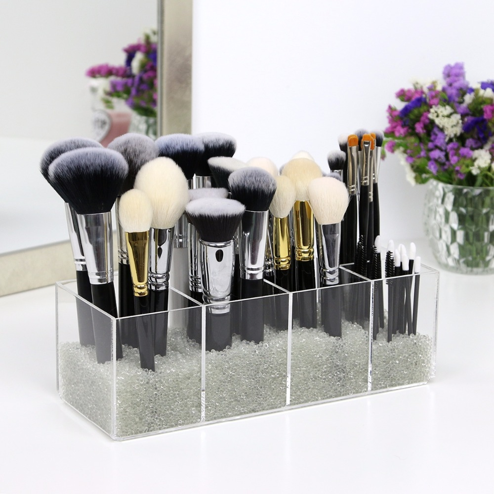 2018 Aila New Brushes Organizer 5 Compartments Makeup Storage Box Crystal Makeup Tool Flashing Pencil Holder Lipstick Organizer