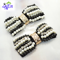 1 pair black fabric white pearl bowtie shoe flower clip with glass beads and crystal B409