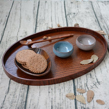 japan style oval wooden serving tray tea plate for homehotel serving board storage tray for tea fruit snacks sushi tableware