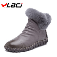 2016 Women Shoes Genuine Leather Boots Handmade Vintage Style Ankle zip Fashion soft winter rabbit fur