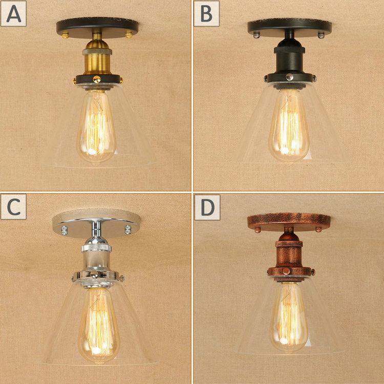 LOFT Edison Vintage Style Transparent Glass Ceiling Lamp Cafe Bar Coffee Shop Bedside Hall Way Store Shop Club image