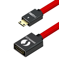 ANNNWZZD 25CM MINI HDMI Extension cable Extender Male to Female cord mini hdmi adapter for Tablet Camcorder MP4