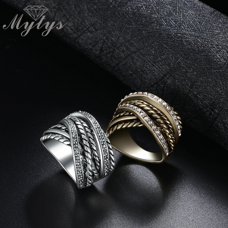 Mytys Retro Old Copper Chunky Ring Line Twist Geometric Invisible - Նորաձև զարդեր - Լուսանկար 4