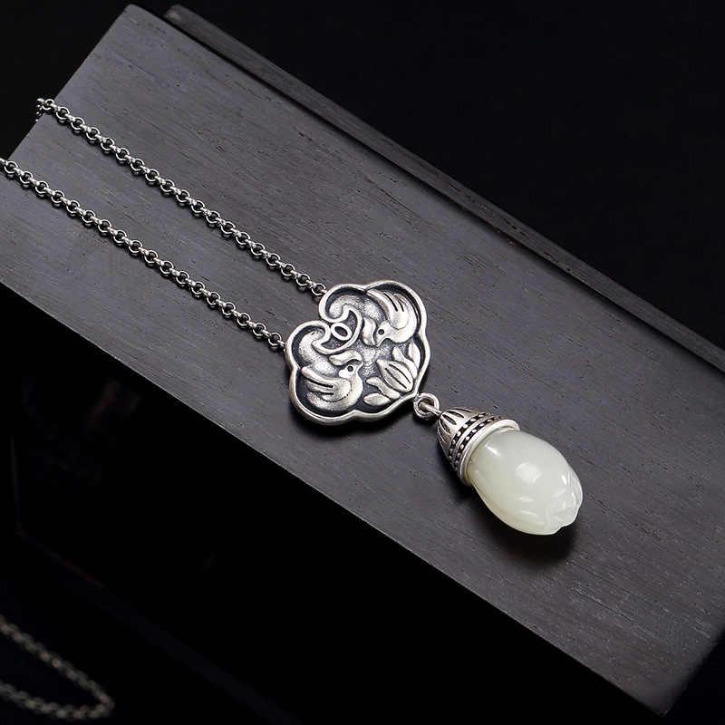S925 เงินโบราณโมเสคและหยกสีขาว magnolia ดอกไม้แมนดารินเป็ดแมนดาริน lady high - end จี้ขายส่ง