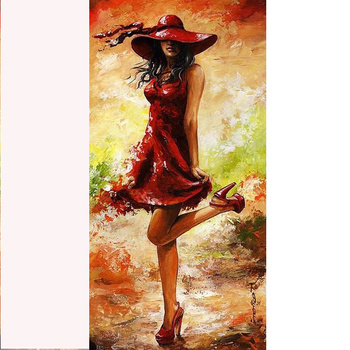 Hand Painted Beautiful Women Art Paintings Of Women In Red Dresses Women Decorative Painting