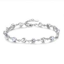 цены S925 sterling silver heart-shaped bracelet female Korean version of the couple simple personality Sen student day gift to send h