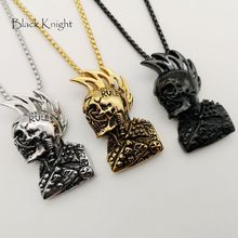 Black Knight Hip Hop rock punk skull pendant necklace mens cool Gold color stainless steel punk skull necklace fashion BLKN0736 недорого
