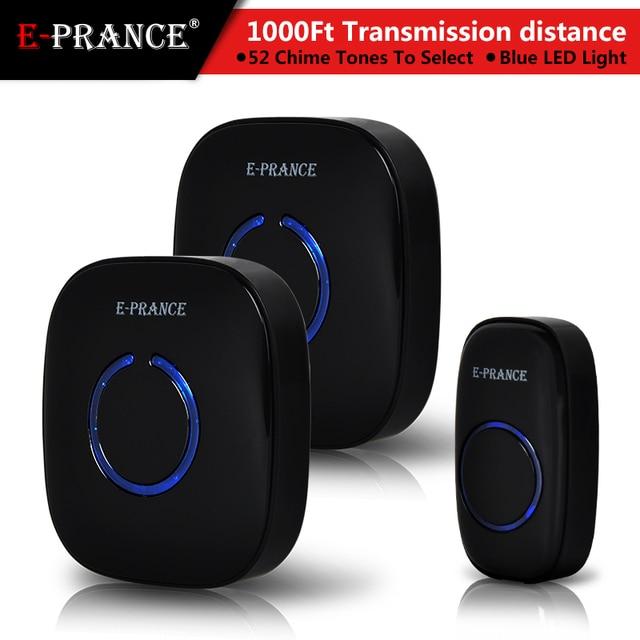 E Prance EP 15003 1000FT 300M 1 Push Button Wireless Doorbell 2 Receivers AC