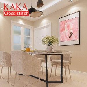 Image 2 - KAKA Cross zestaw do szycia haft robótki zestawy z nadrukowanym wzorem, 11CT na płótnie, wystrój domu do domu w ogrodzie, 5D czerwony Flamingo