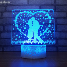 Valentine's Day 3D Table Lamp Acrylic LED Night Light Touch 7 Color Changing Wedding Party Decorative Light for Lovers Gift gift valentine s day beautiful autism calming sensory led light lamp multicolour fibre optic ice relax changing