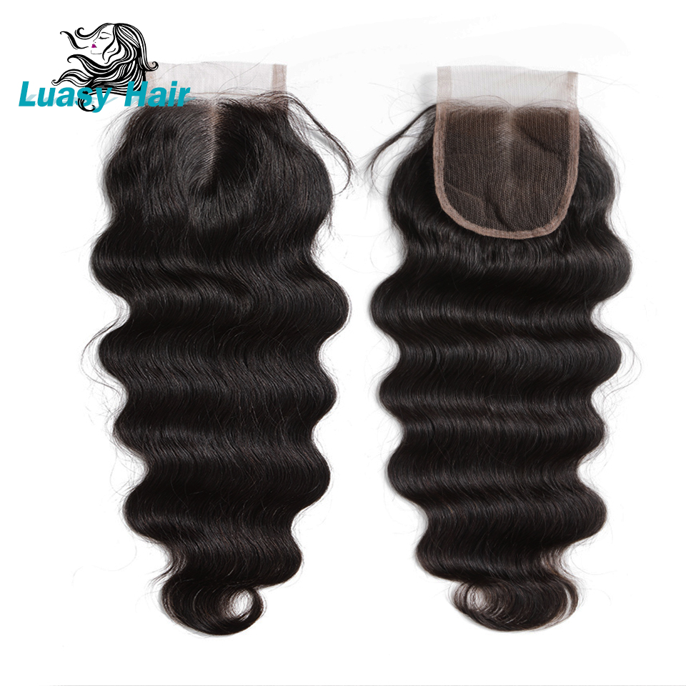Luasy Brazilian Body Wave Hair 4 Bundle With Lace Closure 100% Remy Human Hair Bundles With Closure Total 5Pcs/Lot Free Shipping