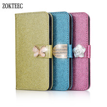 ZOKTEEC For Huawei P9 P10 Plus Lite Fashion Bling Diamond Glitter PU Flip Case Leather Honor 9 10 Cover