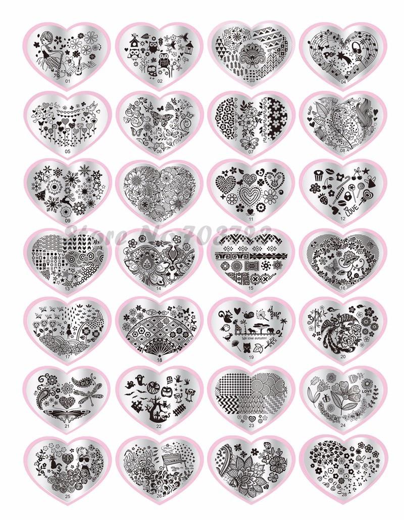 1 Pcs Heart Shape Nail Printing Templates Nail Art Stamp Stamping
