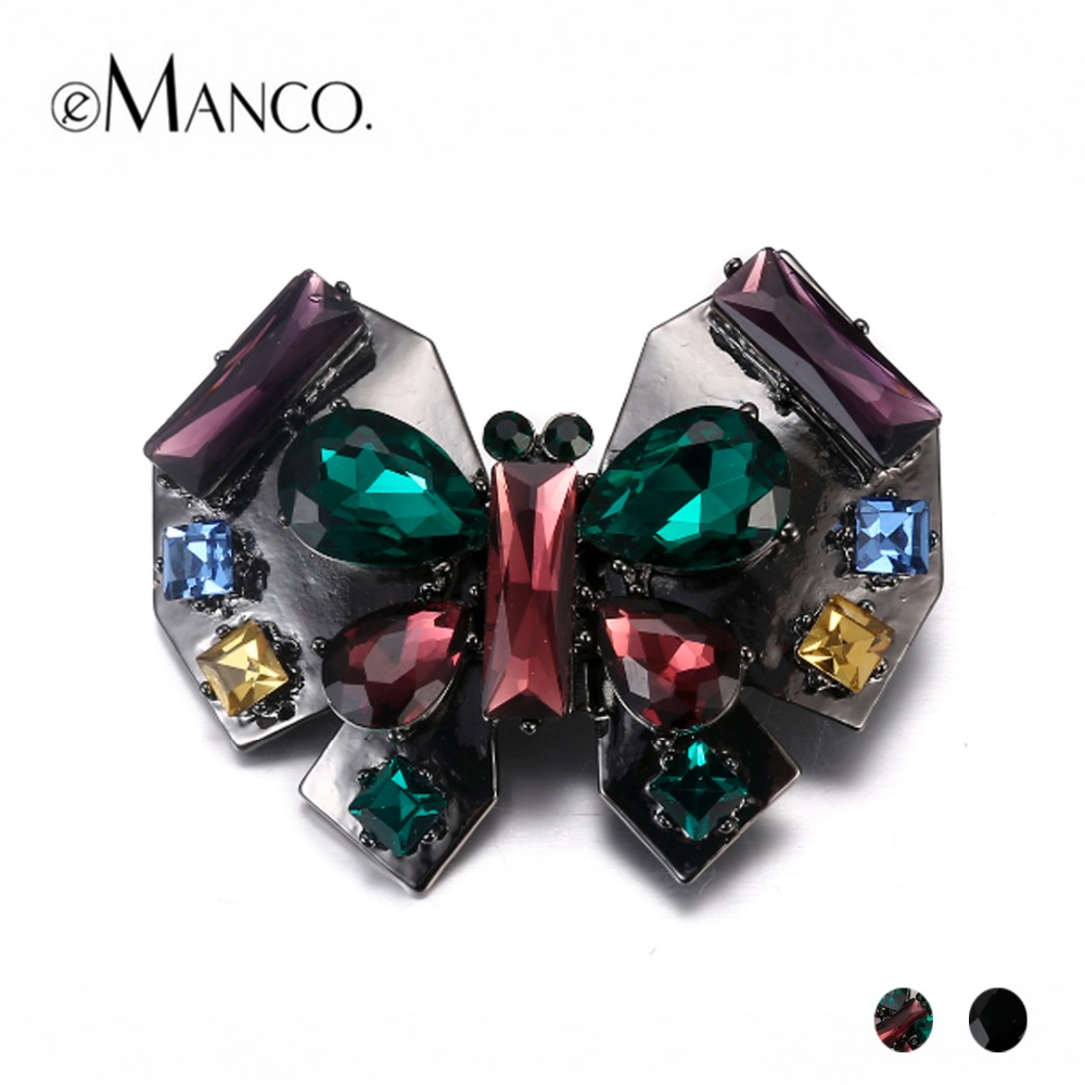 eManco Vintage 2 Items Crystal Animal Butterfly Brooch for Women Rhinestone&alloy 2018 Fashion Jewelry Accessories vintage red rhinestone bean sprout brooch for women