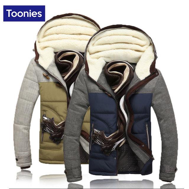 Ajuste de invierno Cálido Hombres Parka chaqueta de Algodón Acolchado Con Capucha de Down Manteau Homme Masculina chaqueta Con Sombrero De Cachemira Hombres de Color de Contraste Outwear