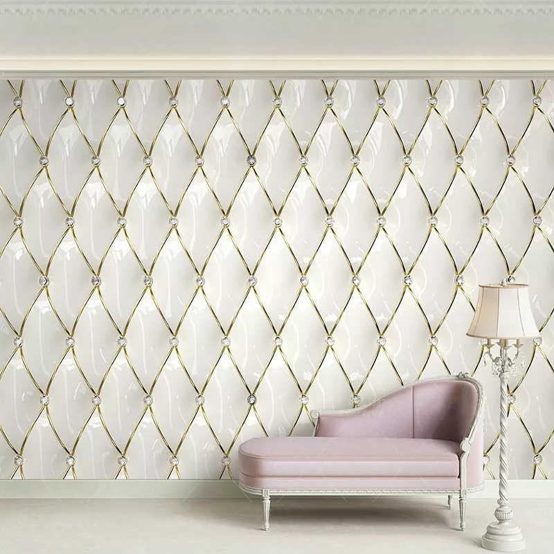 Papel pintado De foto personalizado estilo europeo De lujo 3D estéreo De cristal dorado rombo empalme murales sala De estar dormitorio Papel De Parede 3D