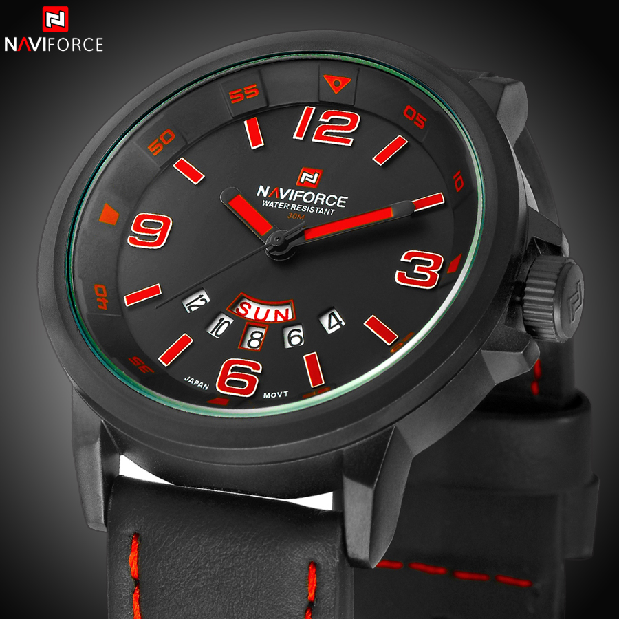 2016 Luxury Brand Military Watches font b Men b font Quartz Analog Clock Leather Clock Man