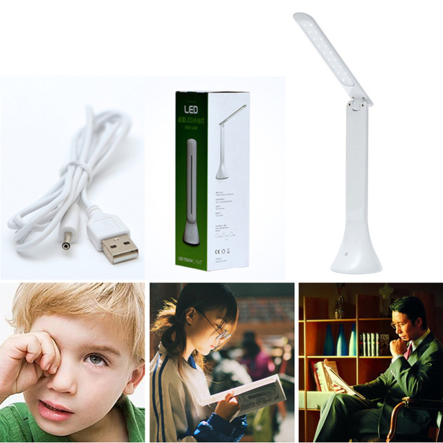 DU# Rechargeable Touch Sensor LED Desk Table Light Dimmable Foldable Desk Lamp
