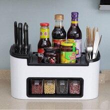 Hot Sale Super Function Kitchenware Oraganizer Creative Kitchen Accessories PP Knife Holder With Spice Storage Free Shipping