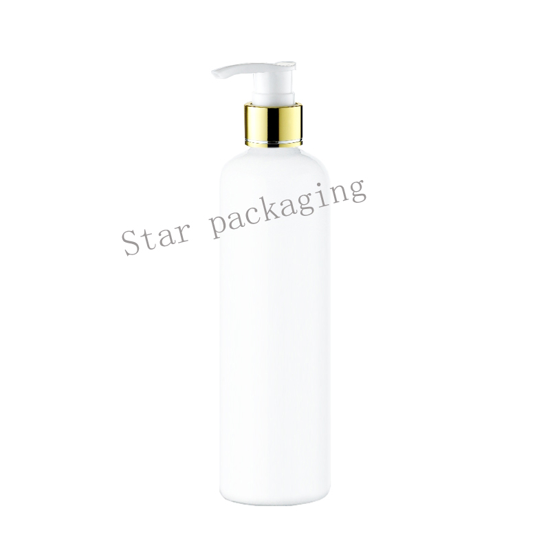 20X300ml Plastic Packaging Lotion gold collar Pump Shampoo white Bottles Refillable Cosmetic Containers And Packaging Container