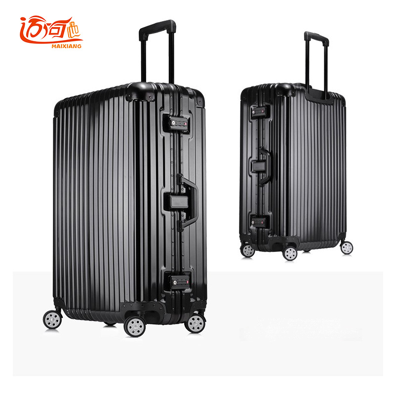Aluminum frame+PC+ABS suitcase for girls boys koffer rolling luggage, 20242629inch crash proof truckle suitcase TSA lock vintage suitcase 20 26 pu leather travel suitcase scratch resistant rolling luggage bags suitcase with tsa lock