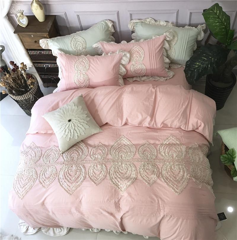 2018 Girls Applique Bedding Set King Queen Size Pink Gray
